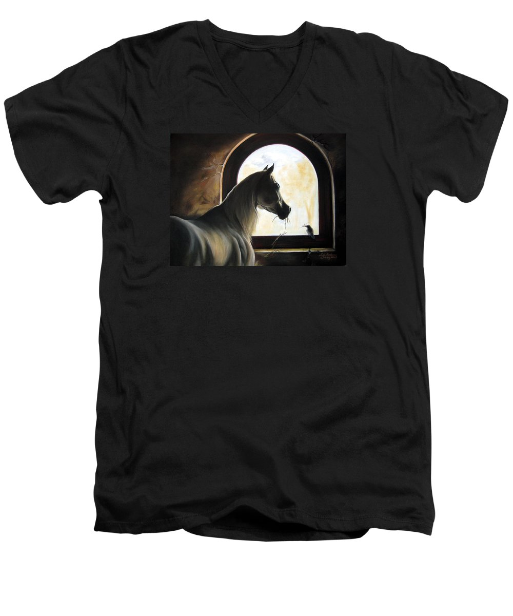 Men's V-Neck T-Shirt featuring the painting Helping by Leyla Munteanu