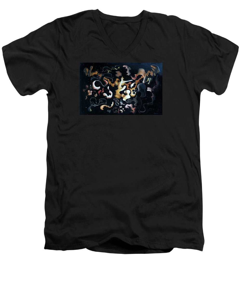 Abstract Men's V-Neck T-Shirt featuring the painting Herculean Construction by Dave Martsolf
