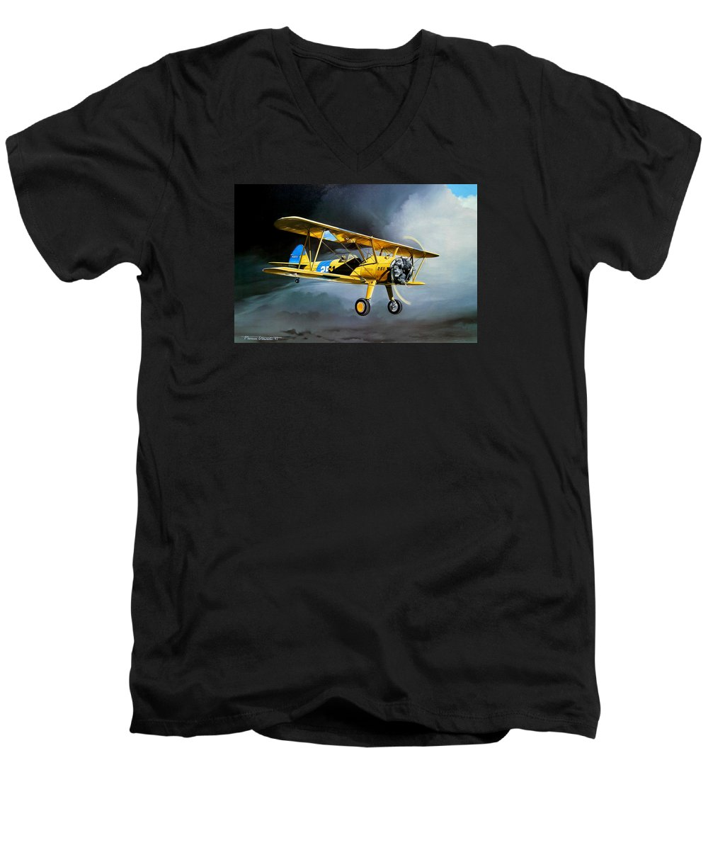 Military Men's V-Neck T-Shirt featuring the painting Here Comes The Sun by Marc Stewart
