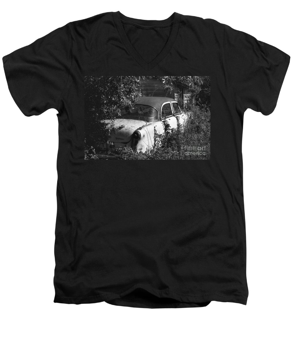 Abandoned Men's V-Neck T-Shirt featuring the photograph Hidden Treasure by Richard Rizzo