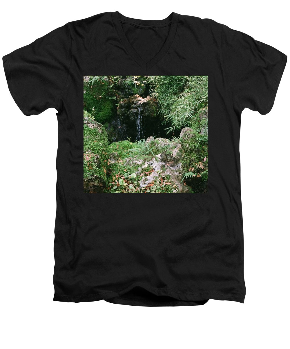 Nature Men's V-Neck T-Shirt featuring the photograph Hidden Waterfall by Dean Triolo