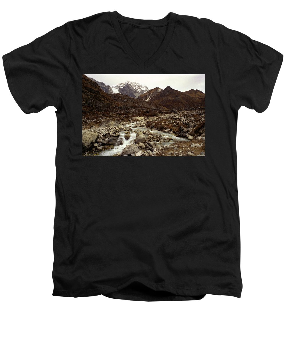 Himalaya Men's V-Neck T-Shirt featuring the photograph Himalaya by Patrick Klauss