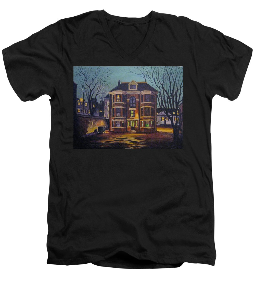 Moody Men's V-Neck T-Shirt featuring the painting Historic Property South End Haifax by John Malone
