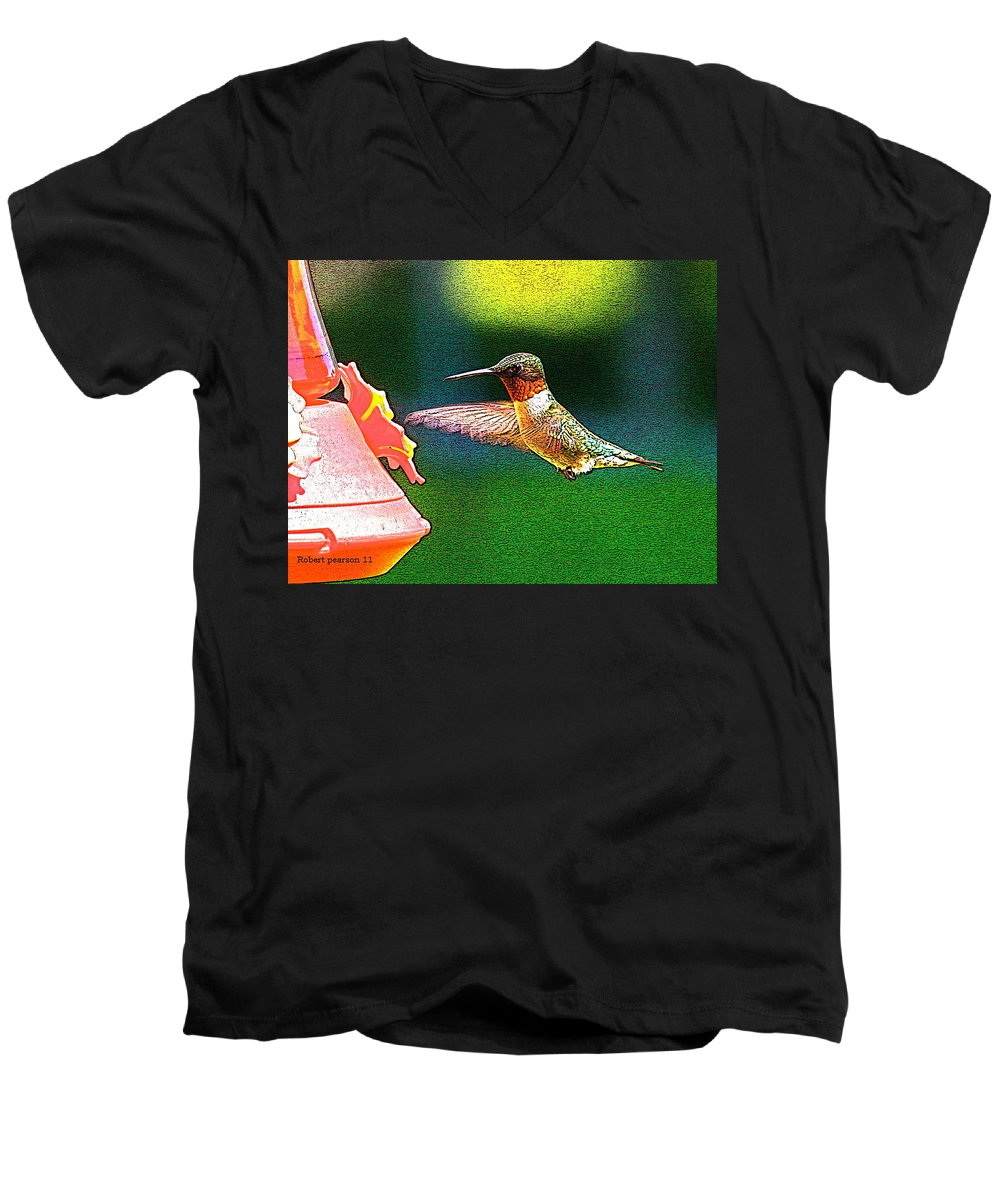 Humming Bird Men's V-Neck T-Shirt featuring the photograph Hmmm by Robert Pearson