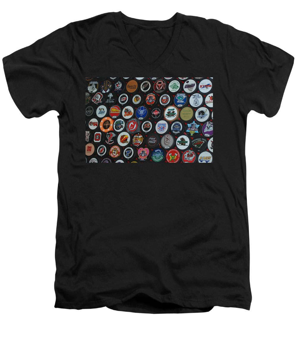 Pop Art Men's V-Neck T-Shirt featuring the photograph Hockey Pucks by Rob Hans