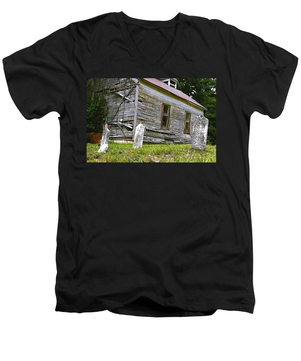 Church Men's V-Neck T-Shirt featuring the photograph Hocking Hills Church by Nelson Strong