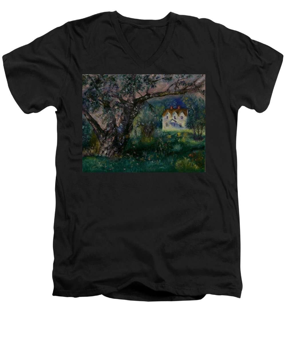 Landscape Men's V-Neck T-Shirt featuring the painting Homestead by Stephen King