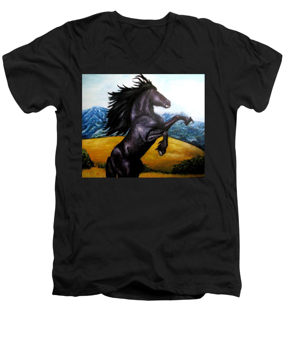 Horse Men's V-Neck T-Shirt featuring the painting Horse Oil Painting by Natalja Picugina