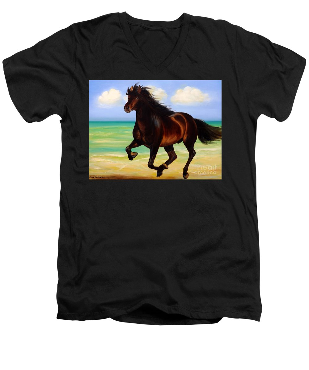 Horses Men's V-Neck T-Shirt featuring the painting Horses In Paradise Run by Gina De Gorna