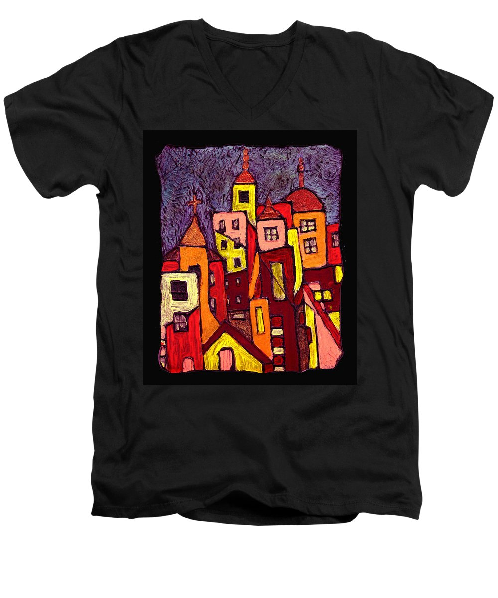 City Scapes Men's V-Neck T-Shirt featuring the painting Hot Night In The City by Wayne Potrafka