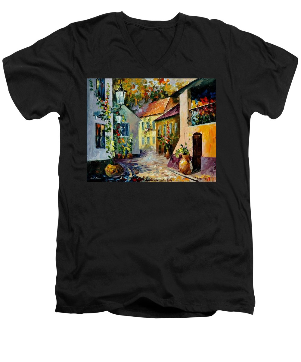 Landscape Men's V-Neck T-Shirt featuring the painting Hot Noon Original Oil Painting by Leonid Afremov