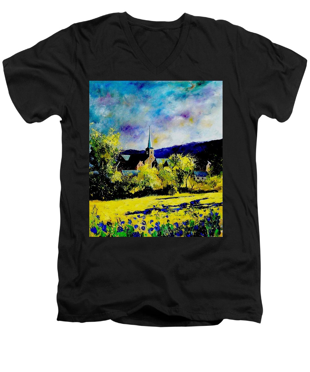 Poppies Men's V-Neck T-Shirt featuring the painting Hour Village Belgium by Pol Ledent