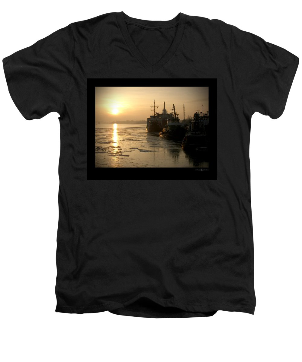 Boat Men's V-Neck T-Shirt featuring the photograph Huddled Boats by Tim Nyberg