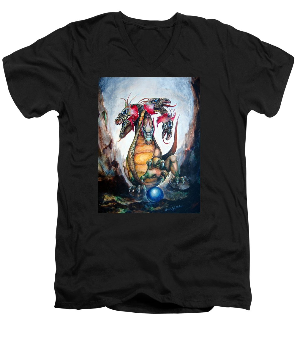 Hydra Men's V-Neck T-Shirt featuring the painting Hydra by Leyla Munteanu