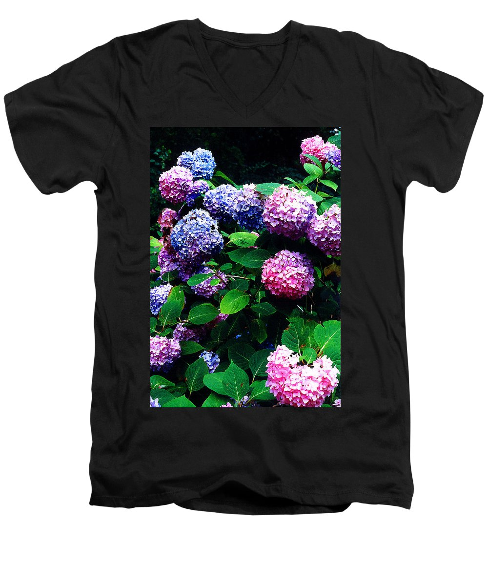 Flowers Men's V-Neck T-Shirt featuring the photograph Hydrangeas by Nancy Mueller