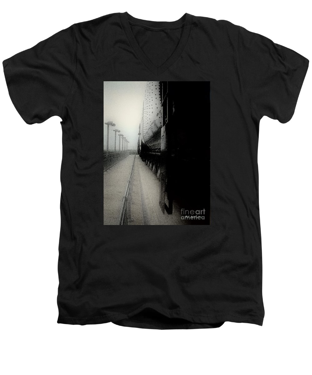 Train Men's V-Neck T-Shirt featuring the digital art I Hear That Lonesome Whistle Blow by RC deWinter