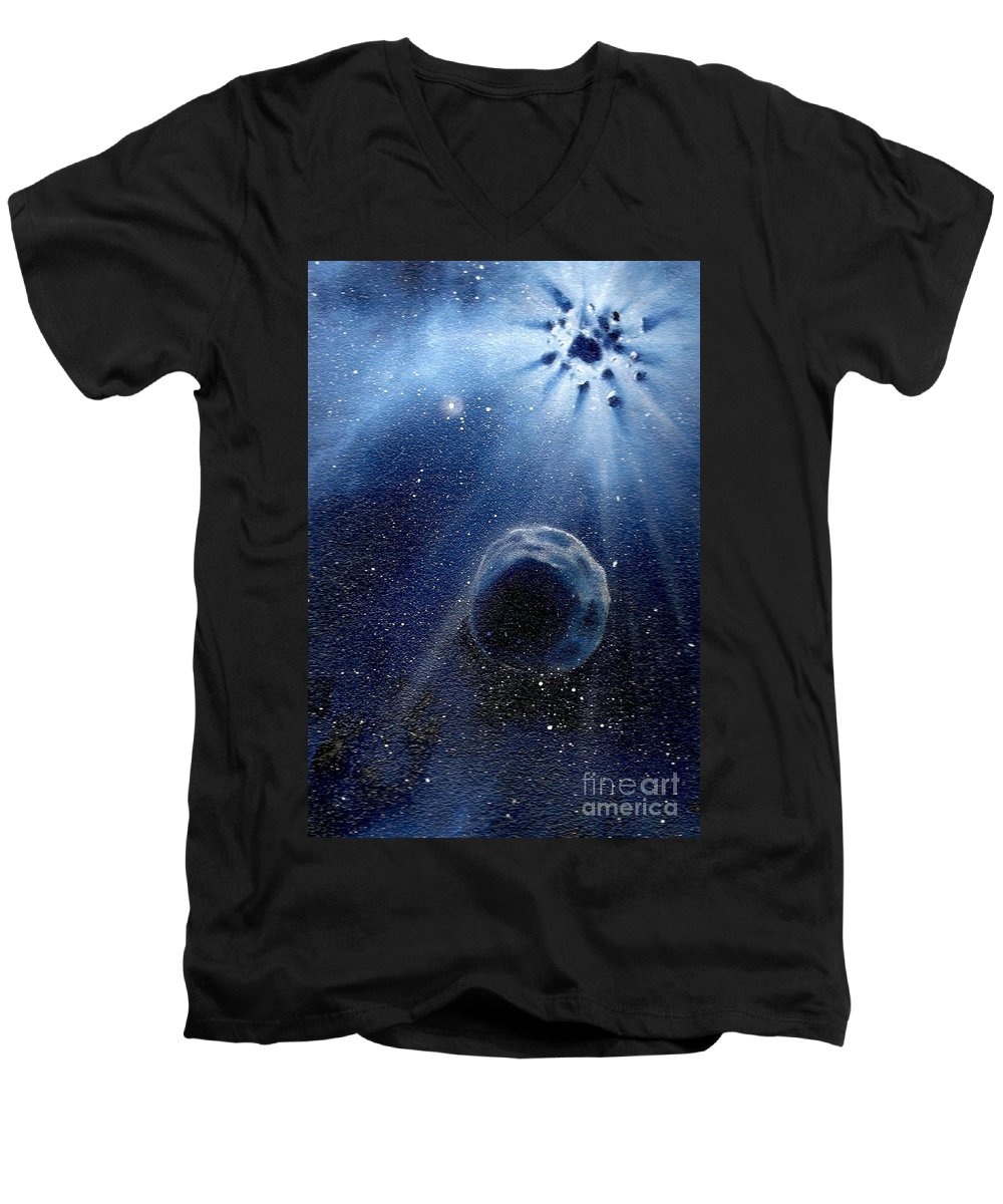 Outerspace Men's V-Neck T-Shirt featuring the painting Impressive Impact by Murphy Elliott