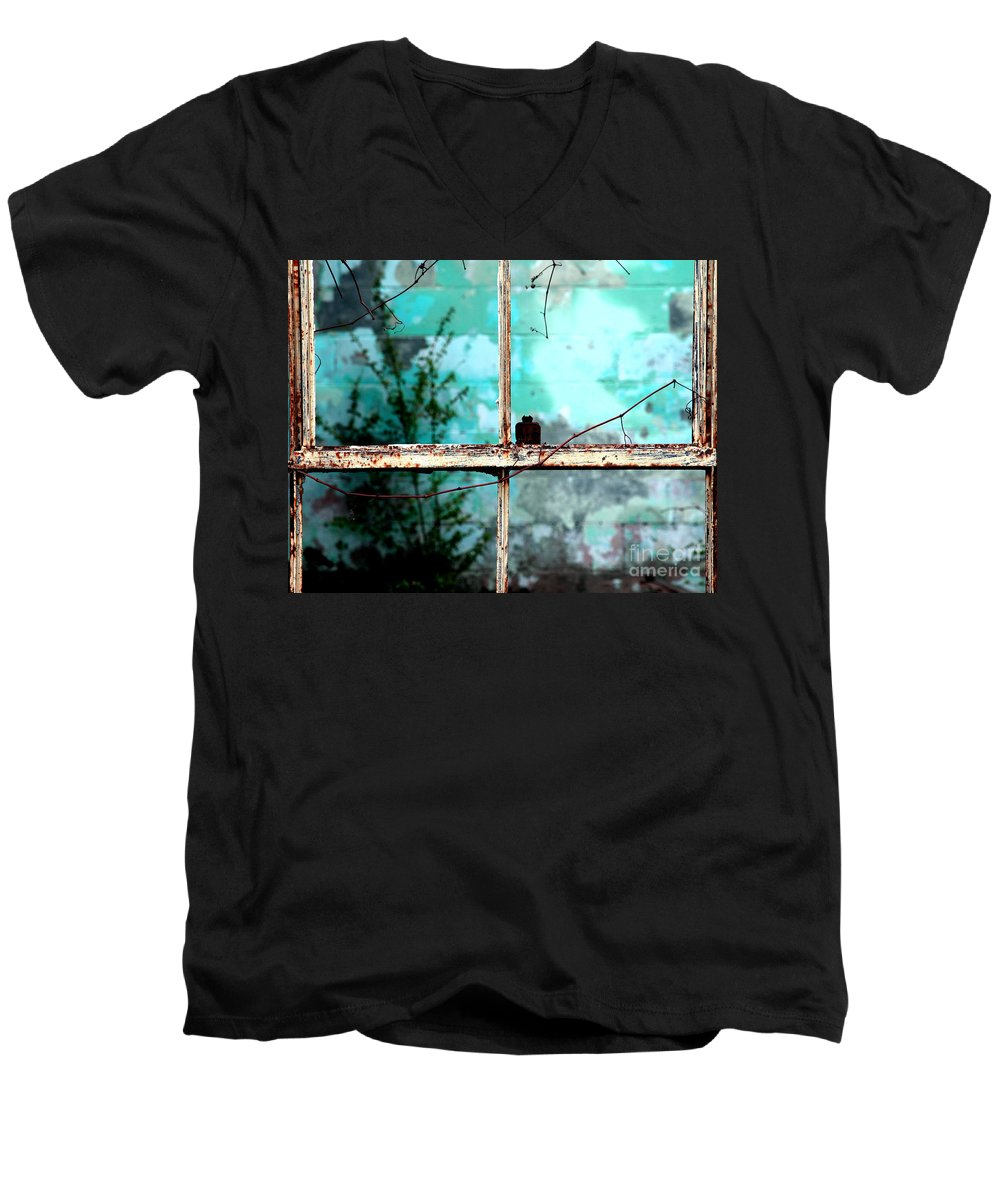 Windows Men's V-Neck T-Shirt featuring the photograph In Or Out by Amanda Barcon