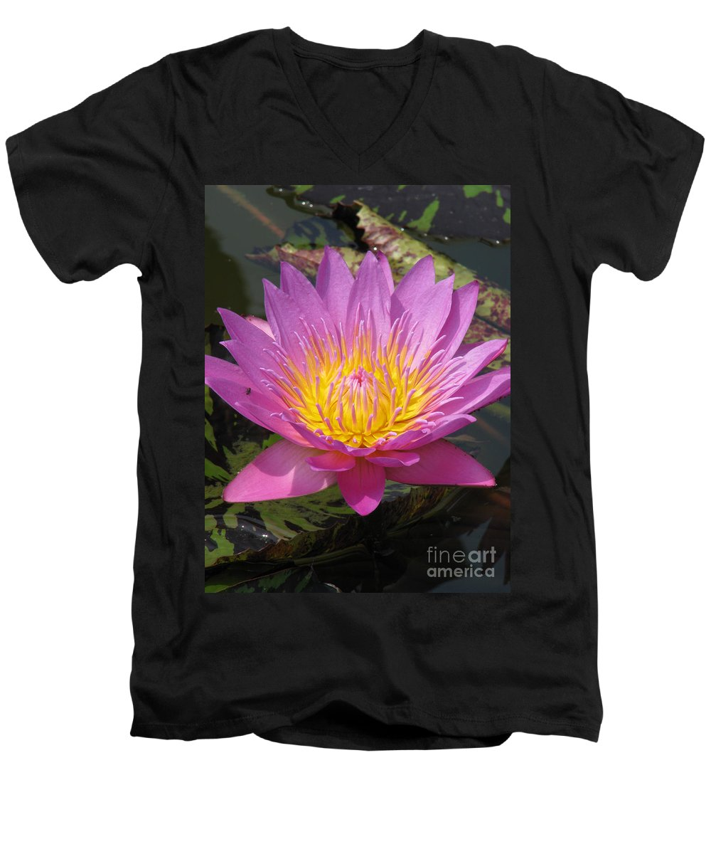Lotus Men's V-Neck T-Shirt featuring the photograph In Position by Amanda Barcon