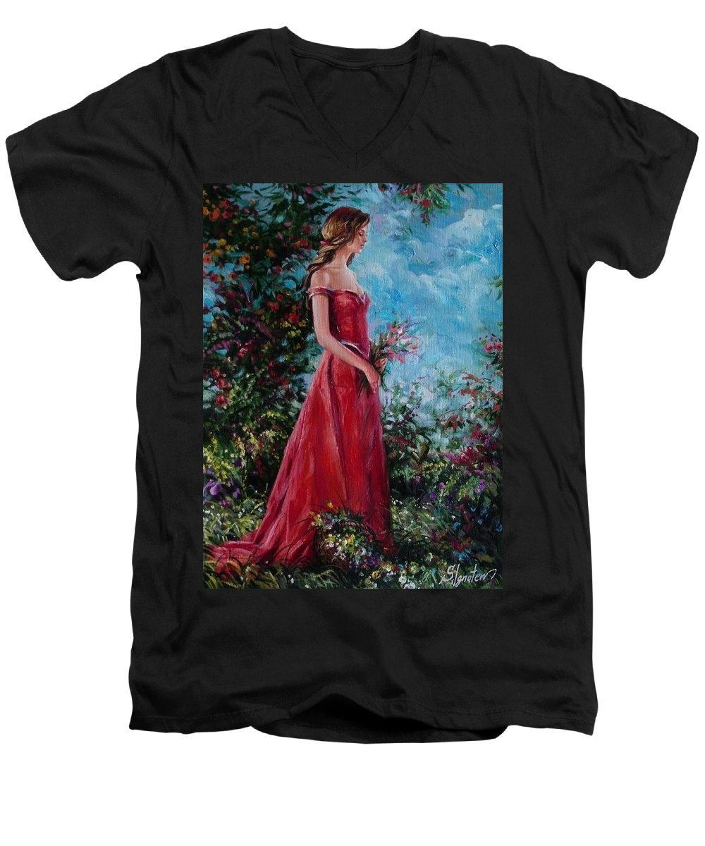 Figurative Men's V-Neck T-Shirt featuring the painting In Summer Garden by Sergey Ignatenko