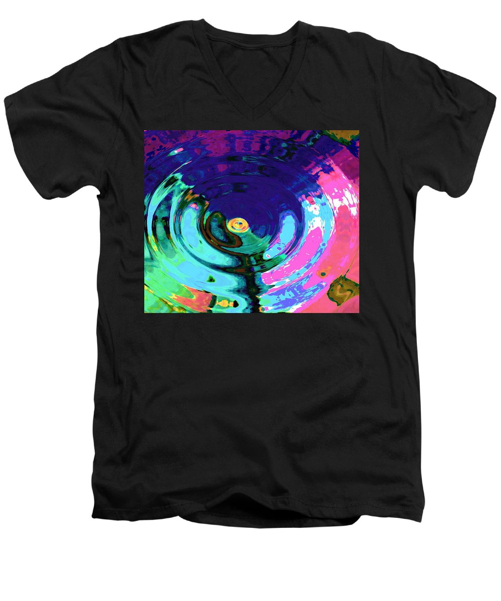 Blue Men's V-Neck T-Shirt featuring the digital art Infinity by Natalie Holland