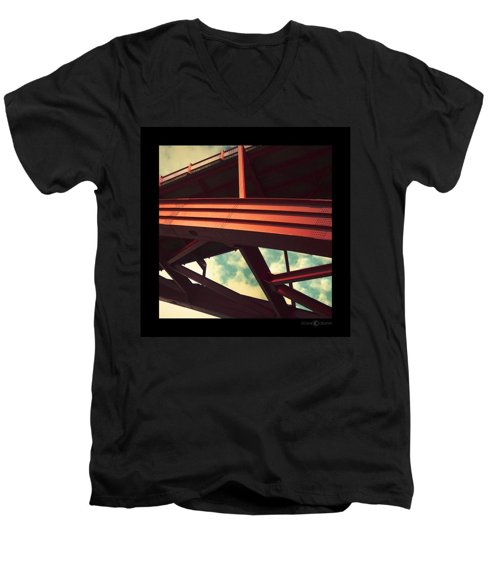 Bridge Men's V-Neck T-Shirt featuring the photograph Infrastructure by Tim Nyberg