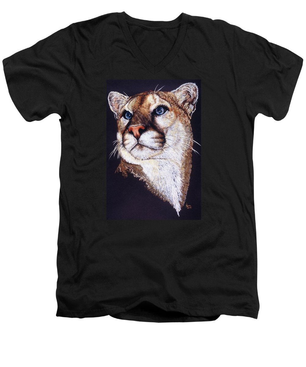 Cougar Men's V-Neck T-Shirt featuring the drawing Intense by Barbara Keith
