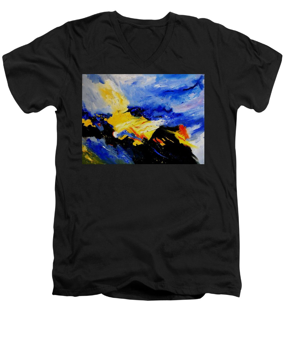 Abstract Men's V-Neck T-Shirt featuring the painting Interstellar Overdrive 2 by Pol Ledent