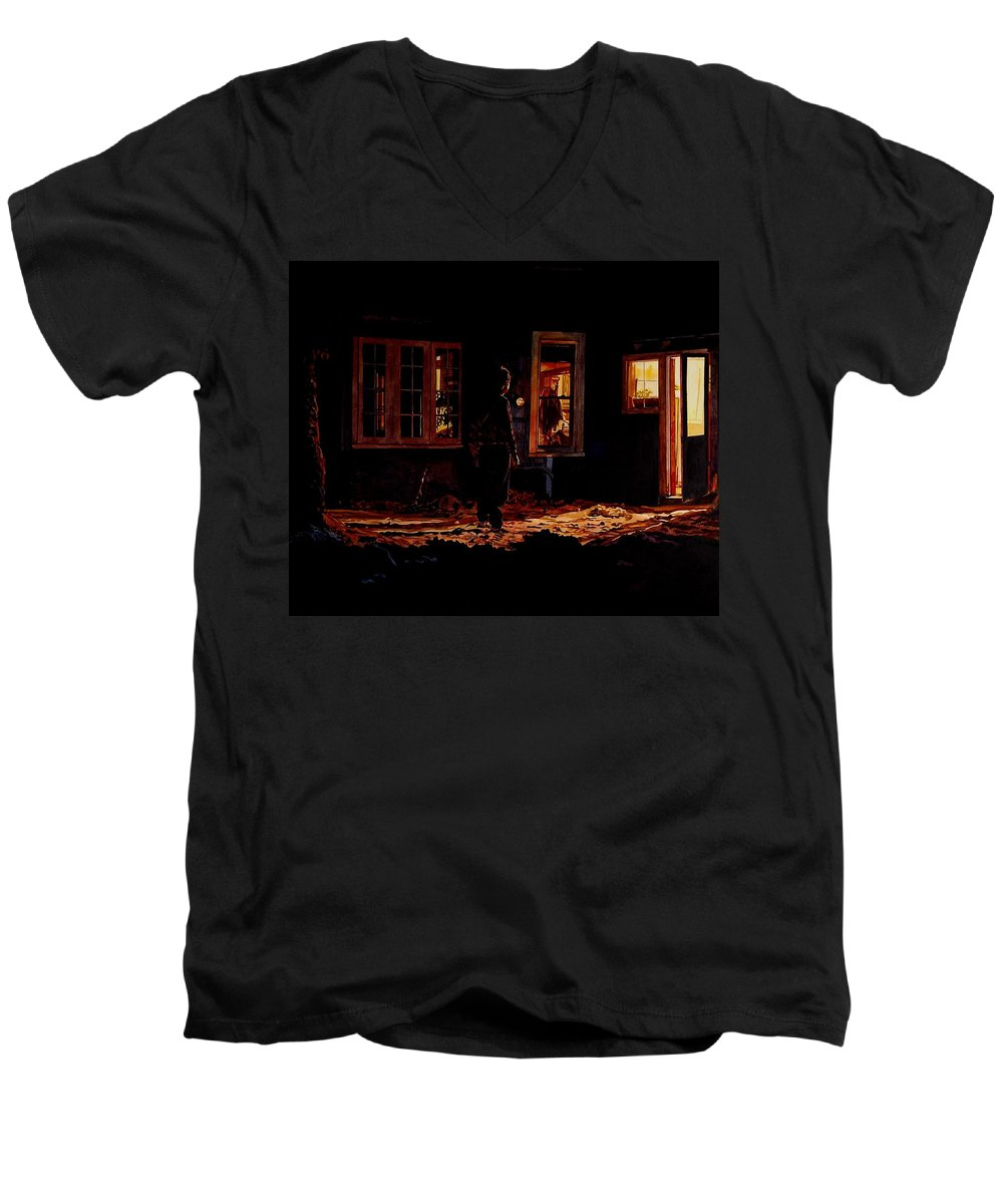 Night Men's V-Neck T-Shirt featuring the painting Into The Night by Valerie Patterson