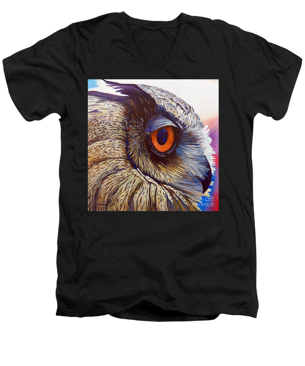 Owl Men's V-Neck T-Shirt featuring the painting Introspection by Brian Commerford