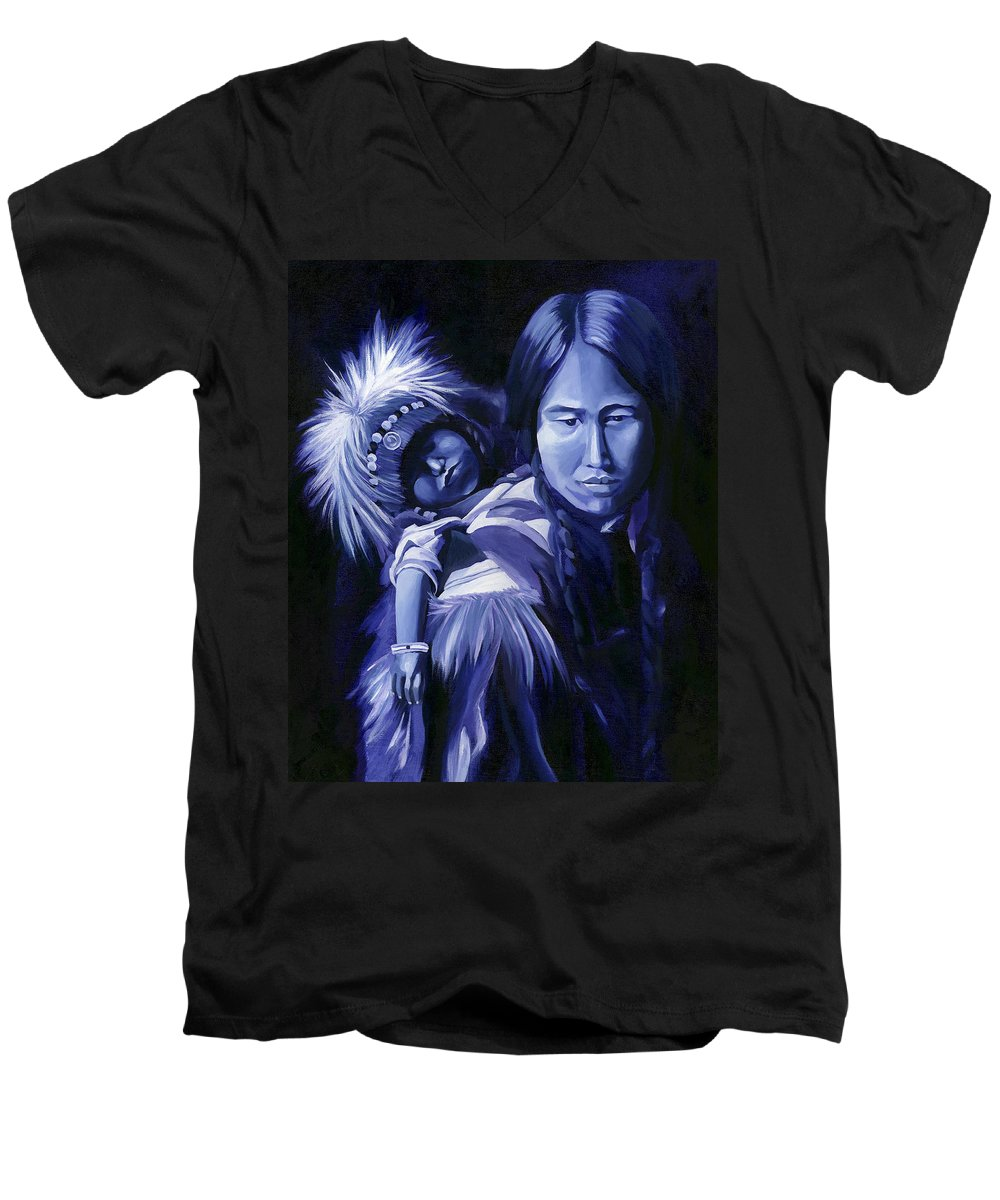 Native American Men's V-Neck T-Shirt featuring the painting Inuit Mother And Child by Nancy Griswold