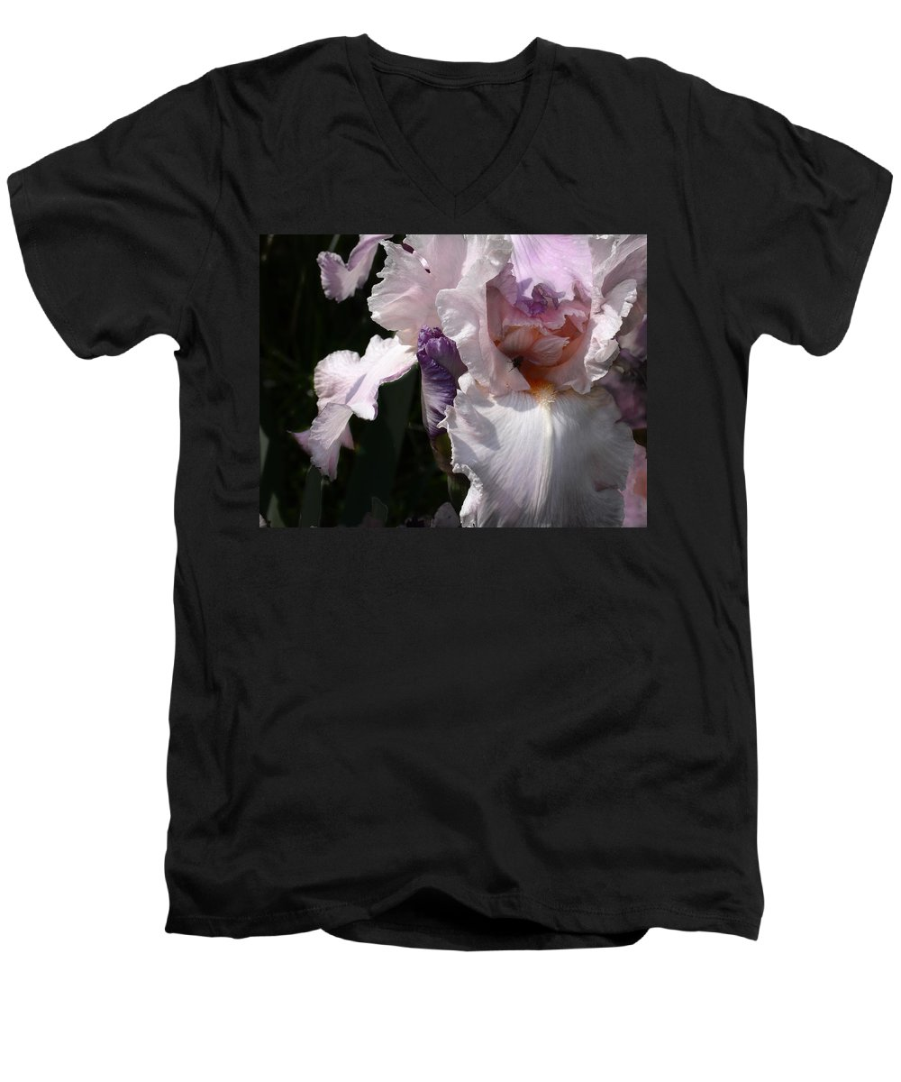 Flower Men's V-Neck T-Shirt featuring the photograph Iris Lace by Steve Karol
