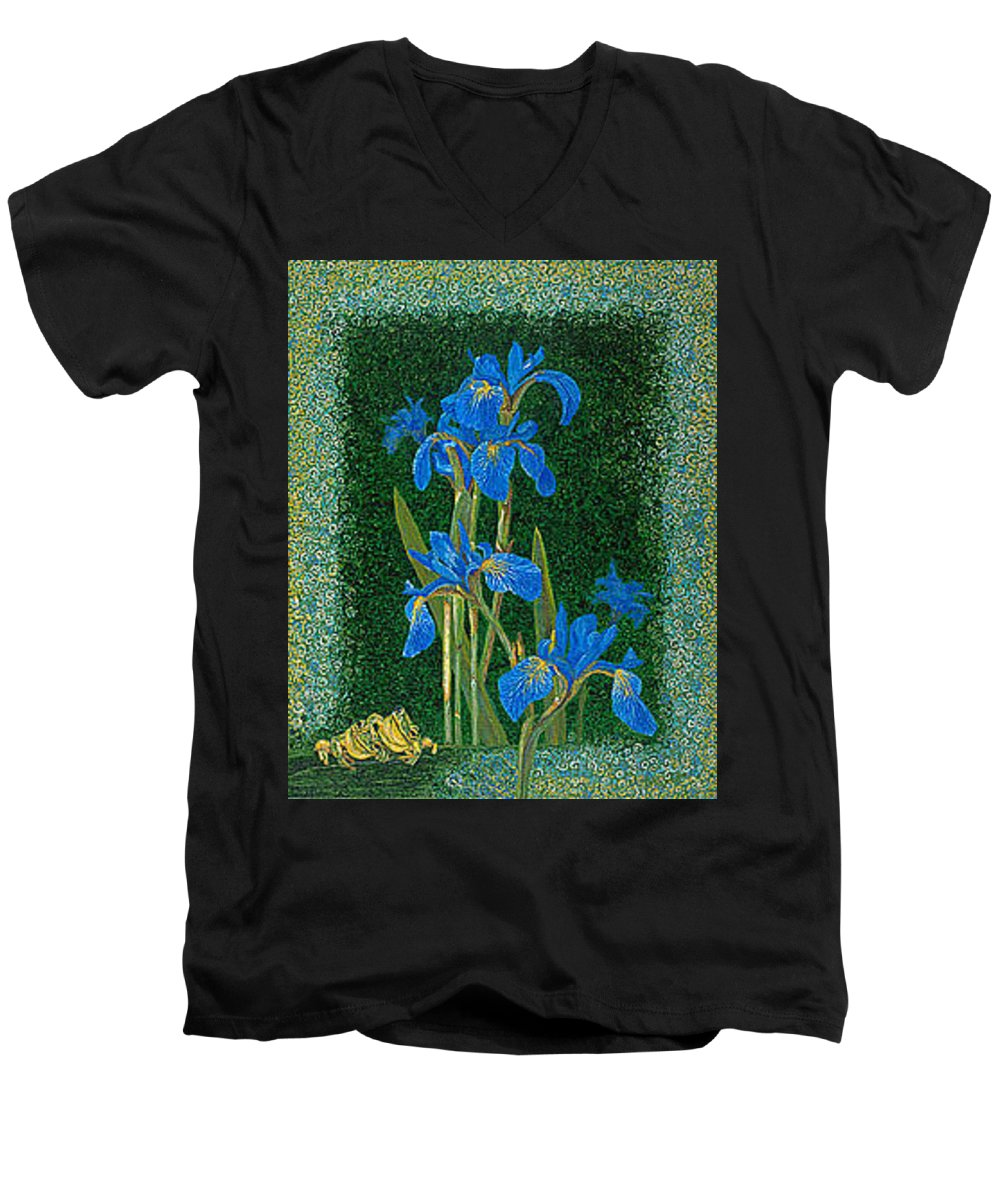 Irises Men's V-Neck T-Shirt featuring the painting Irises Blue Flowers Lucky Love Frog Friends Fine Art Print Giclee High Quality Exceptional Colors by Baslee Troutman