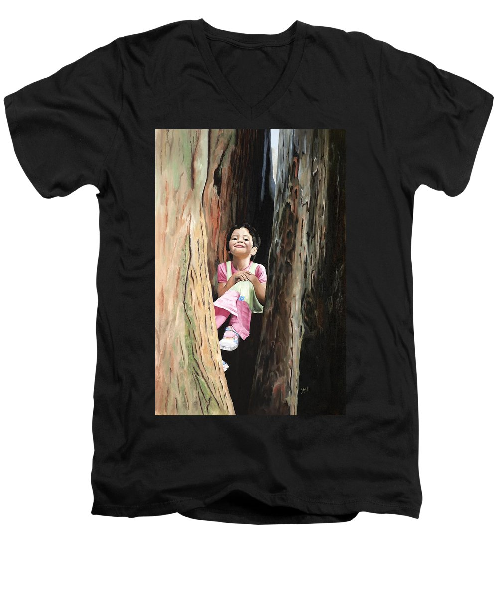 Girl Men's V-Neck T-Shirt featuring the painting Isabella Of Kilkenny by Mary Rogers