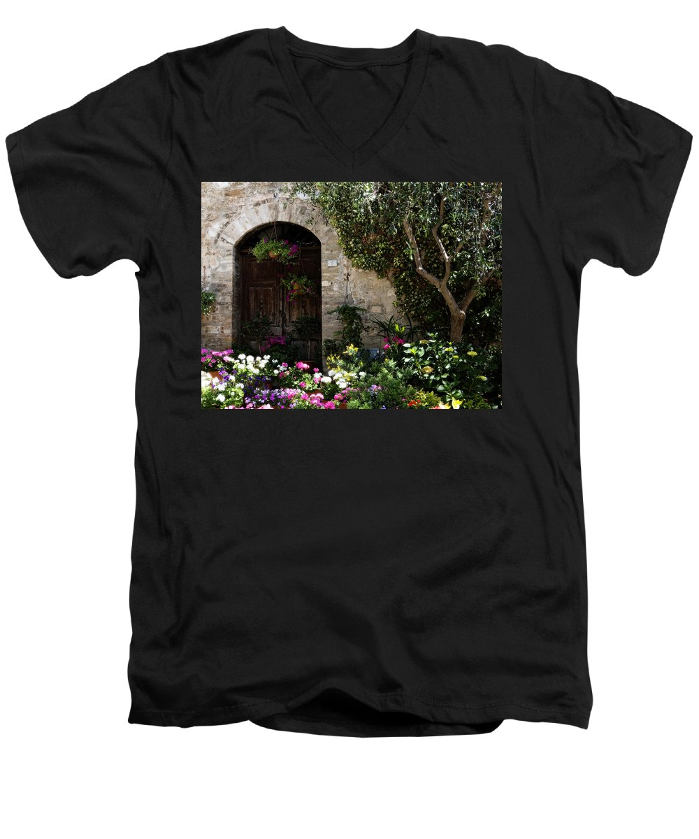 Flower Men's V-Neck T-Shirt featuring the photograph Italian Front Door Adorned With Flowers by Marilyn Hunt