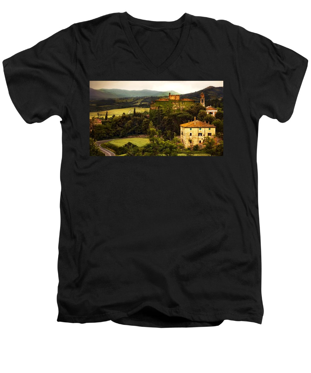 Italy Men's V-Neck T-Shirt featuring the photograph Italian Castle And Landscape by Marilyn Hunt