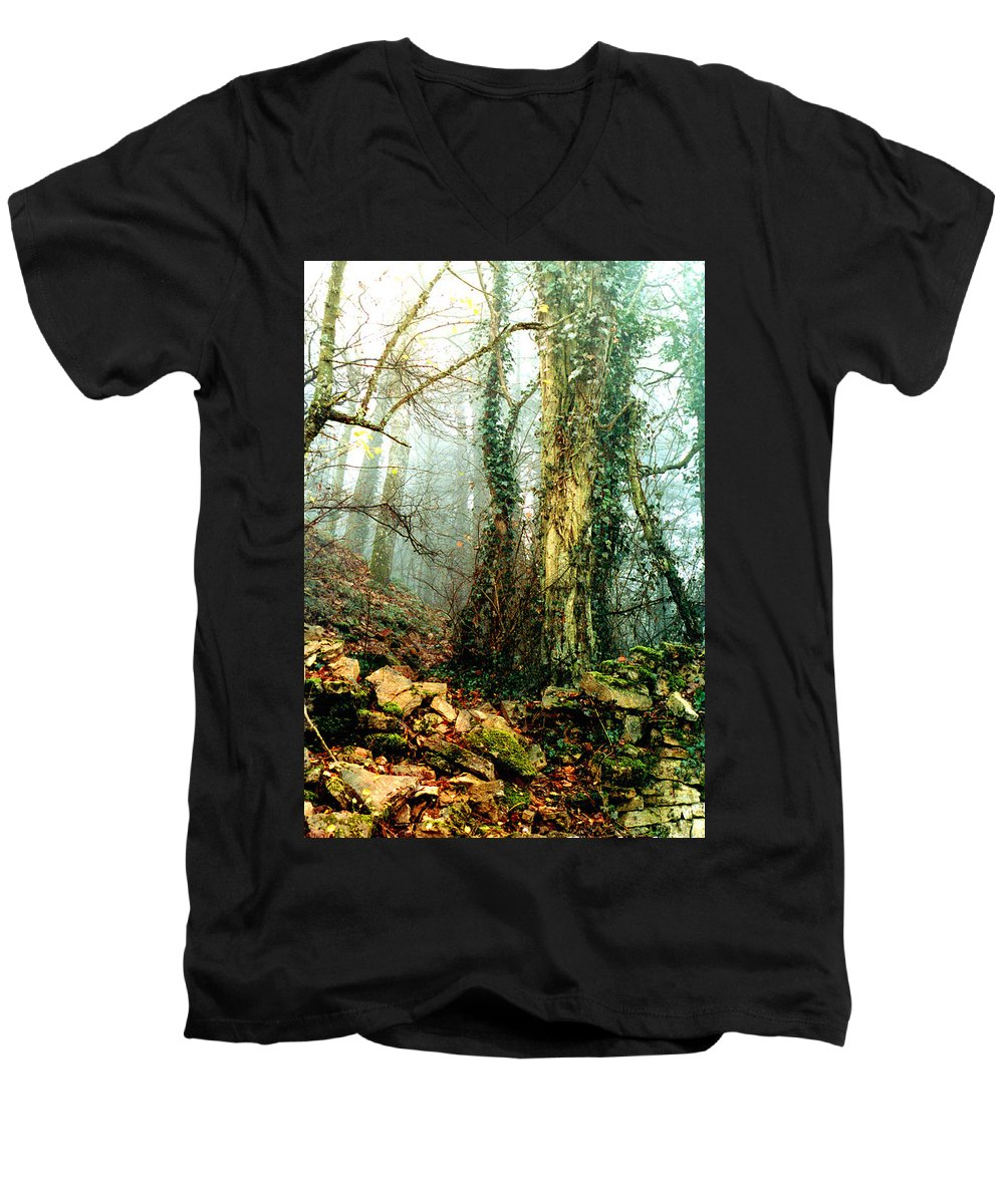 Ivy Men's V-Neck T-Shirt featuring the photograph Ivy In The Woods by Nancy Mueller