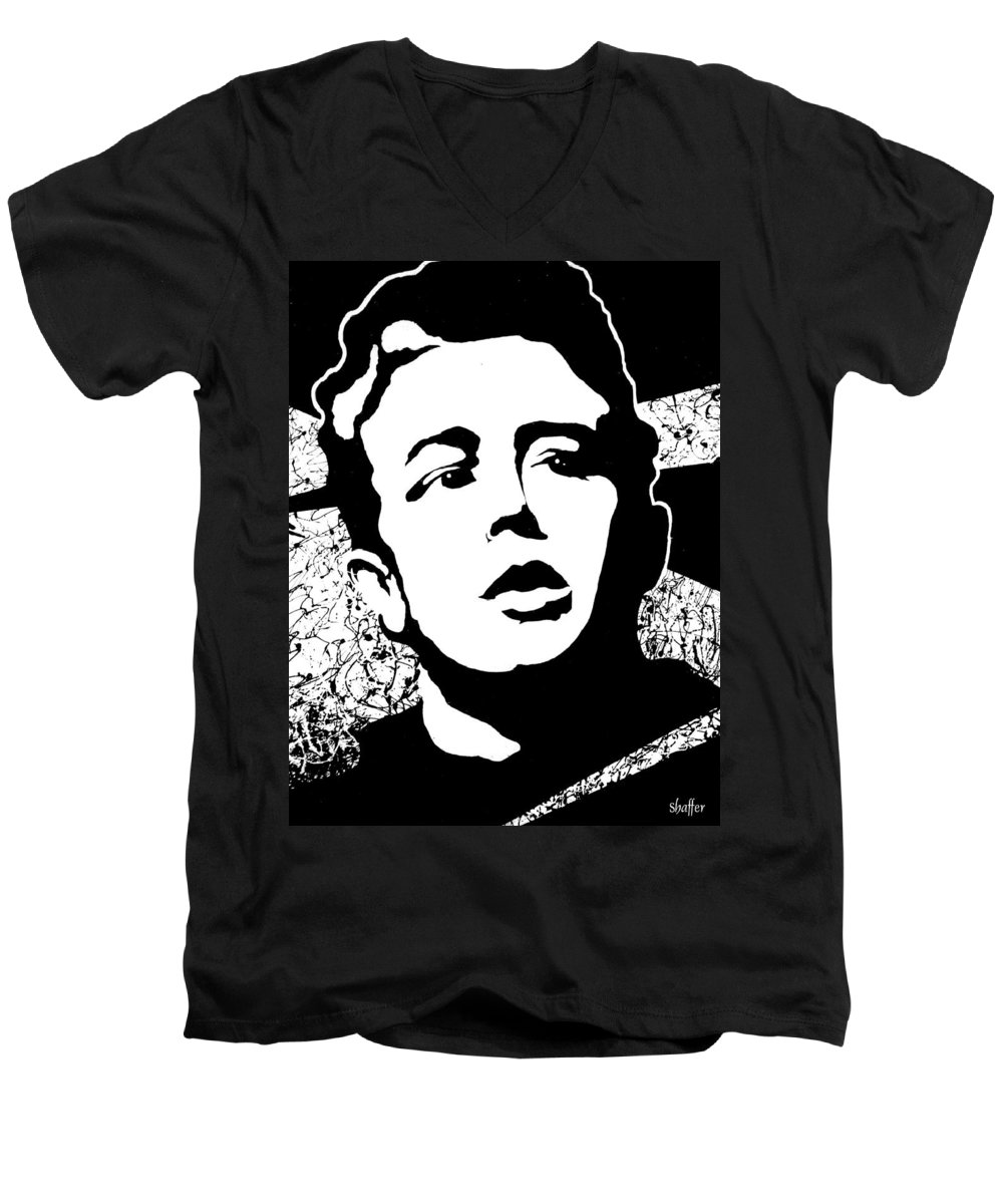 James Dean Men's V-Neck T-Shirt featuring the painting James Dean by Curtiss Shaffer