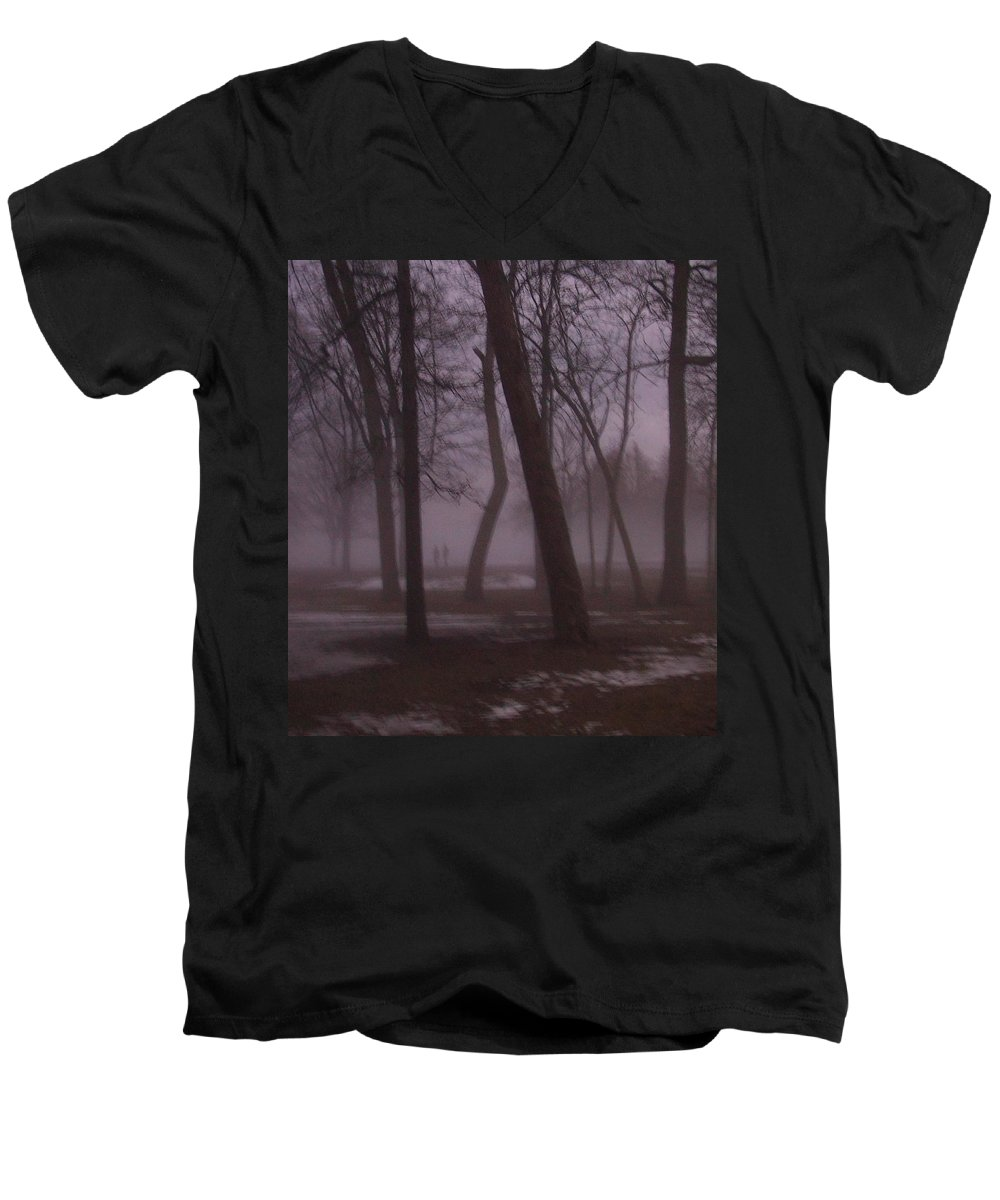 January Men's V-Neck T-Shirt featuring the photograph January Fog 1 by Anita Burgermeister