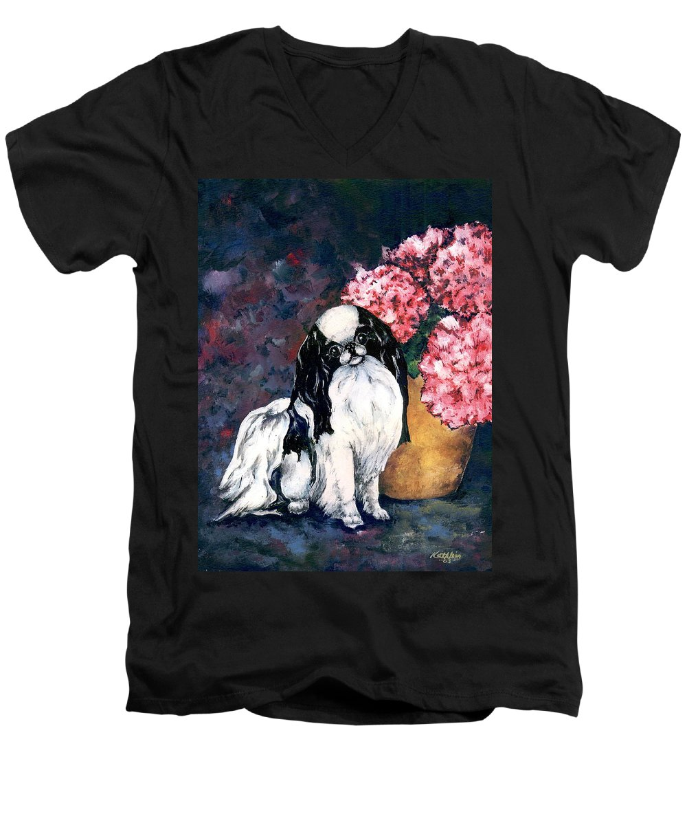 Japanese Chin Men's V-Neck T-Shirt featuring the painting Japanese Chin And Hydrangeas by Kathleen Sepulveda