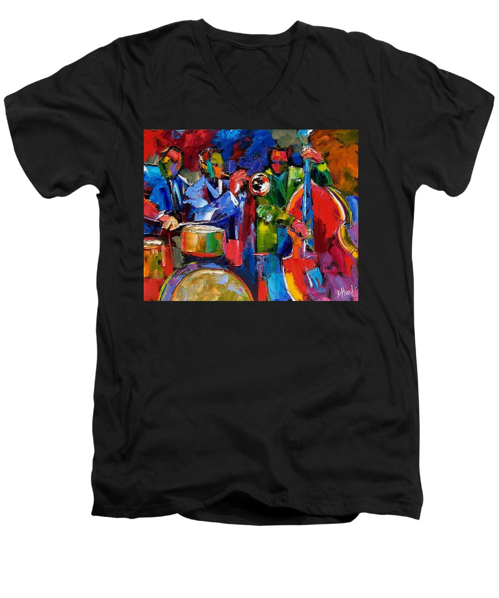 Jazz Men's V-Neck T-Shirt featuring the painting Jazz Beat by Debra Hurd