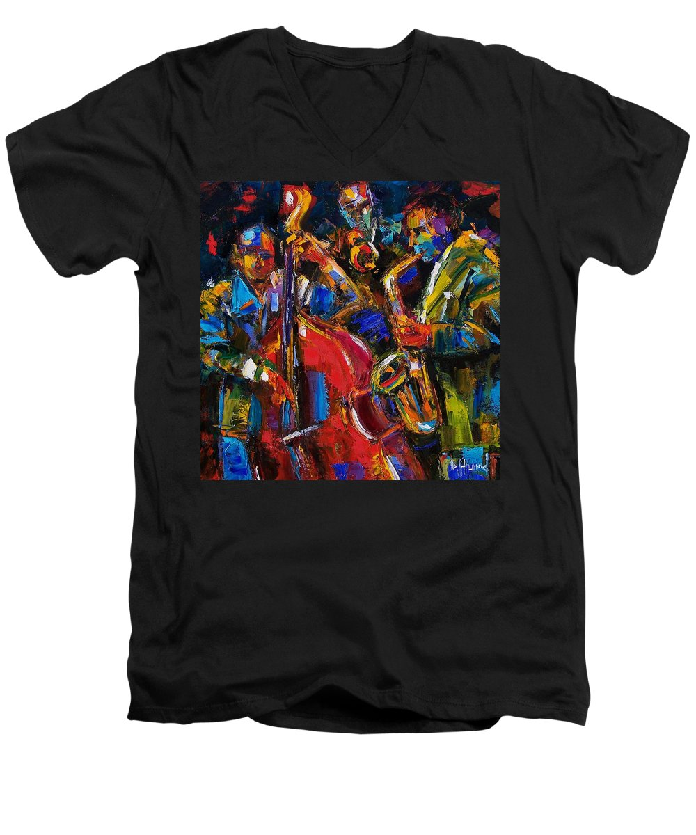 Jazz Men's V-Neck T-Shirt featuring the painting Jazz by Debra Hurd