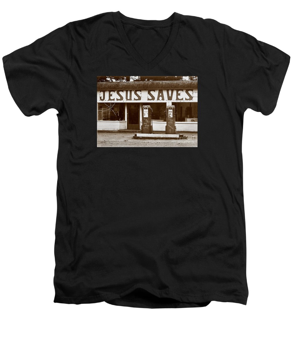 Jesus Men's V-Neck T-Shirt featuring the photograph Jesus Saves 1973 by Michael Ziegler