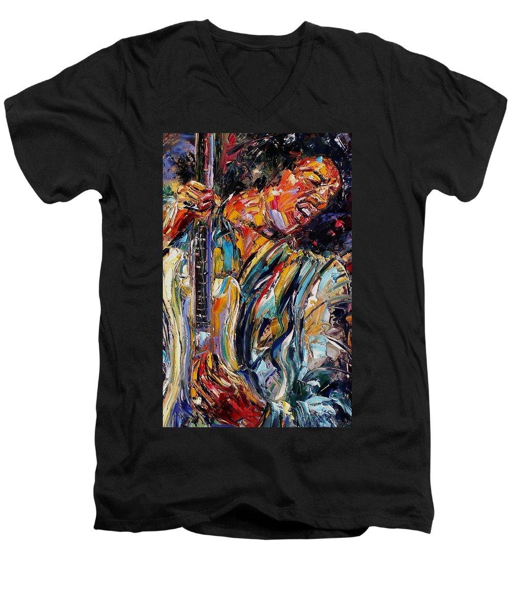 Jimi Hendrix Painting Men's V-Neck T-Shirt featuring the painting Jimi Hendrix by Debra Hurd