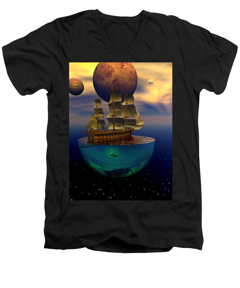 Bryce Men's V-Neck T-Shirt featuring the digital art Journey Into Imagination by Claude McCoy