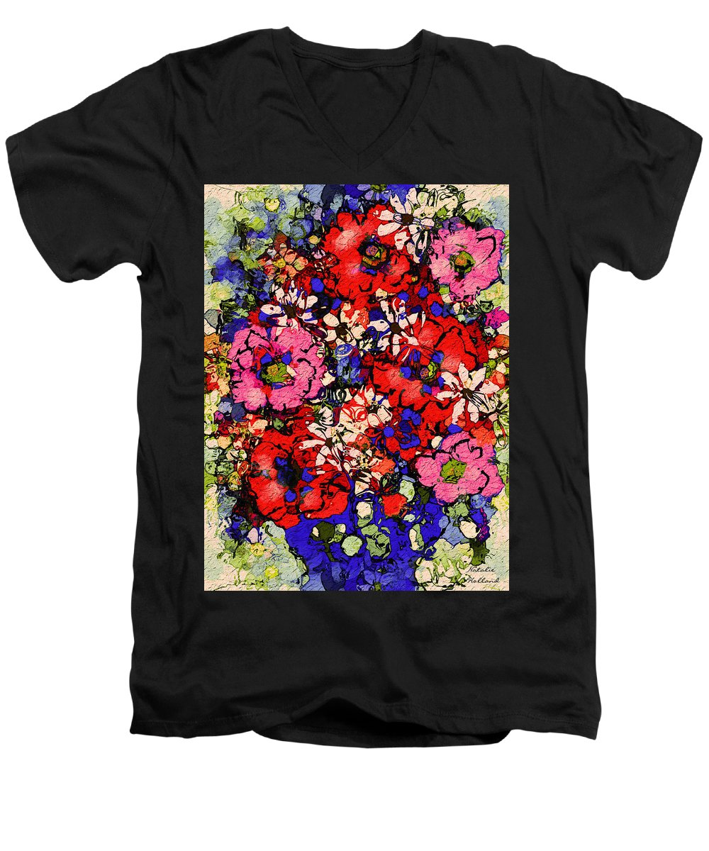 Floral Abstract Men's V-Neck T-Shirt featuring the painting Joyful Flowers by Natalie Holland