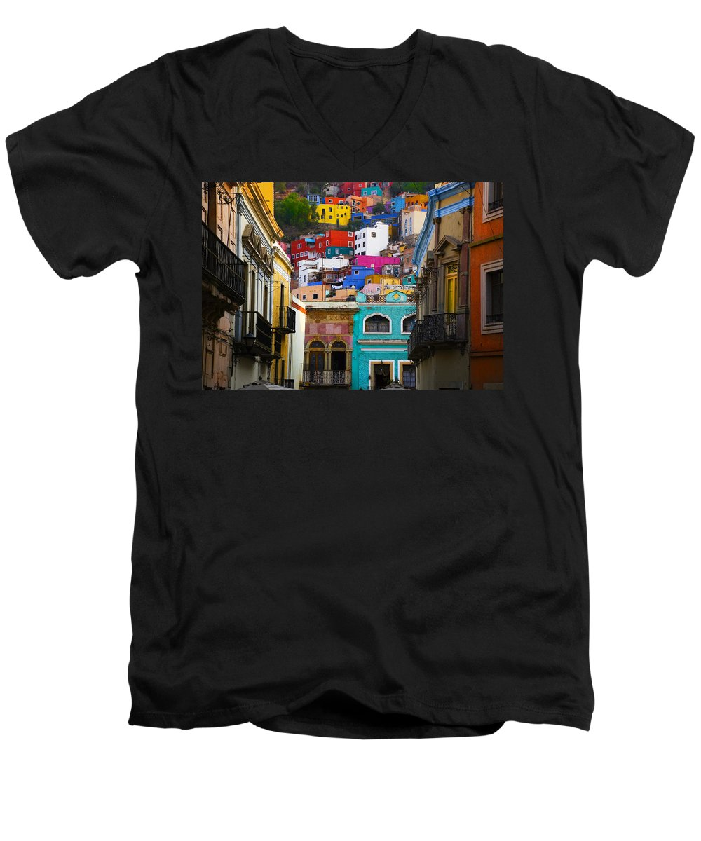 Architecture Men's V-Neck T-Shirt featuring the photograph Juegos In Guanajuato by Skip Hunt