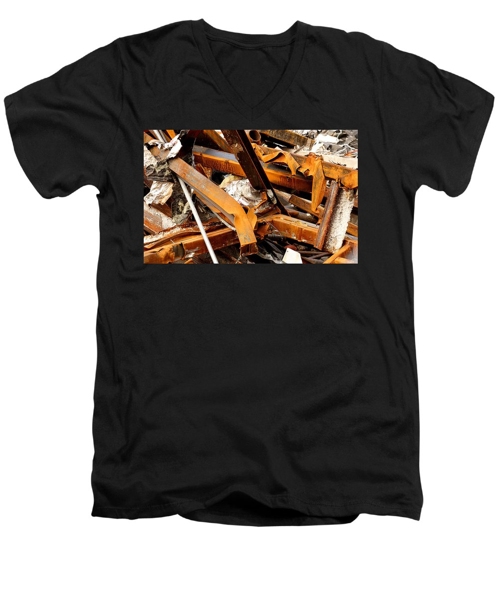 Steel Men's V-Neck T-Shirt featuring the photograph Jumbled Steel by Jean Macaluso