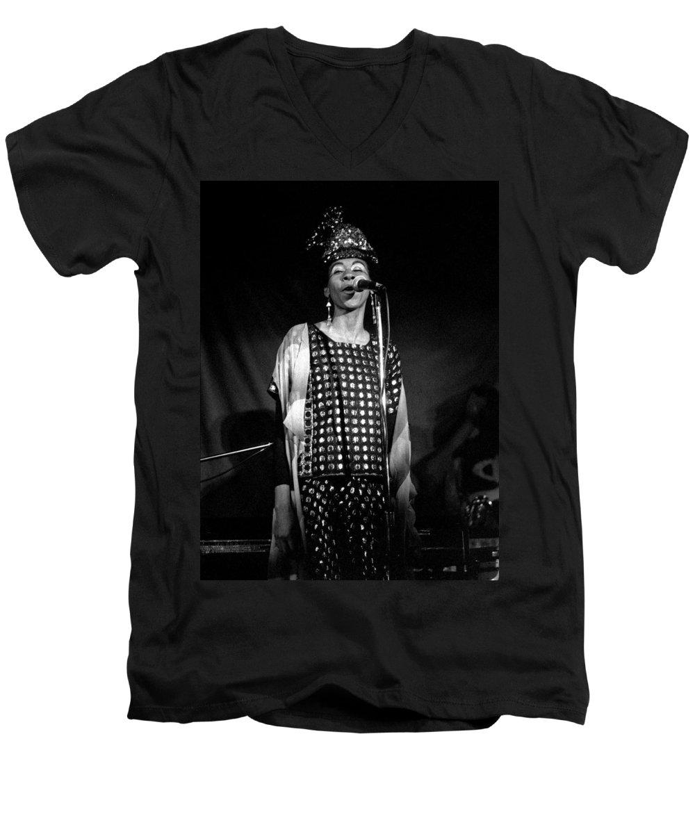 June Tyson Men's V-Neck T-Shirt featuring the photograph June Tyson by Lee Santa