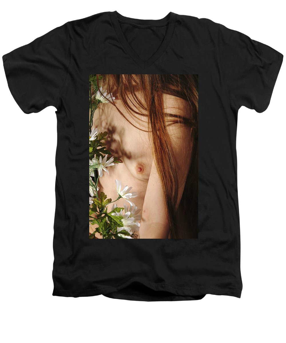 Female Nude Abstract Mirrors Flowers Men's V-Neck T-Shirt featuring the photograph Kazi1141 by Henry Butz